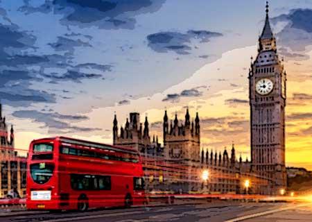 Academia de inglés. Vista de Londres