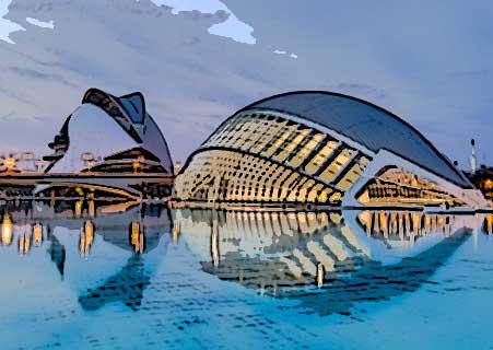 Academia de valenciano. Vista de Valencia